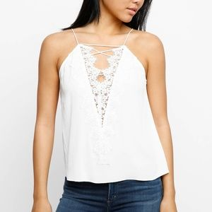 Abbeline Lace Overlay X-Front Tank Top